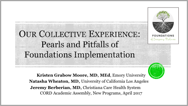 Foundations at CORD - Foundations of Emergency Medicine